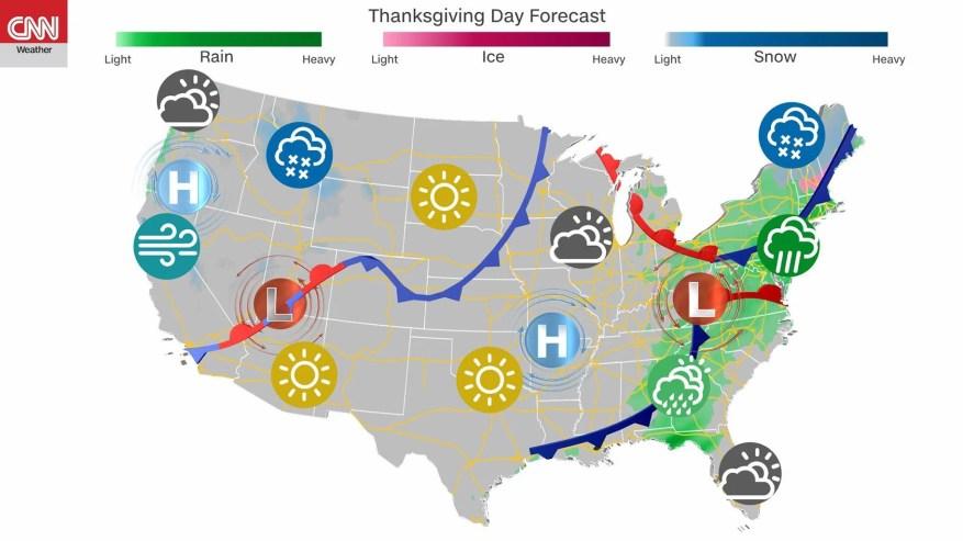 Prévisions météorologiques de Thanksgiving: novembre est souvent la période la plus sombre de l'année dans le nord-ouest, et la région sera à la hauteur de ces attentes détrempées cette semaine.  (Crédit: CNN)
