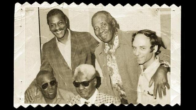 Erwin Helfer, right, with Willie Mabon and Sunnyland Slim, top, and Jimmy Walker and Blind John Davis, bottom, in 1976. (Courtesy of The Sirens Records)