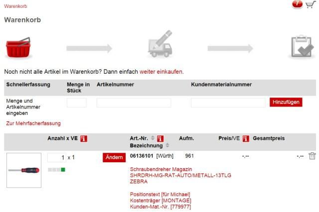 Gewünschte Menge bequem im Würth Online-Shop anpassen.