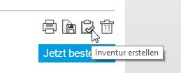 Im Warenkorb können Sie mit einem Klick auf das INVENTURSYMBOL eine Inventur erstellen.