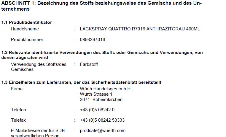 Das Sicherheitsdatenblatt - Würth Österreich
