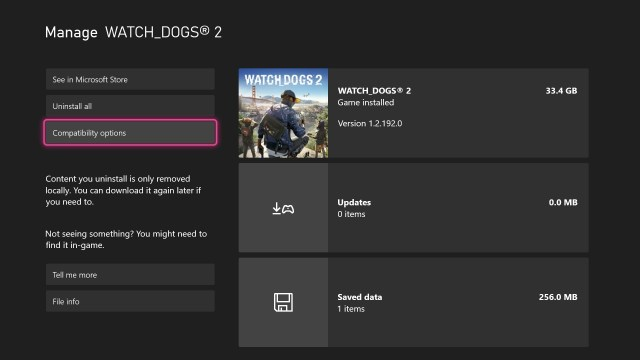 FPS Back Compat UI Screenshot