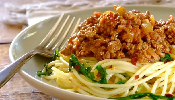 Spaghetti Bolognaise with Wilted Rocket