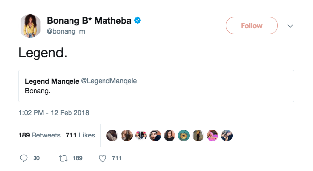 Bonang tweet
