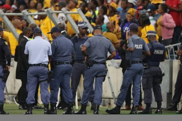Fans vandalise the Moses Mabhida Stadium in Durban after the 2018 Nedbank Cup match between Kaizer Chiefs and Free State Stars