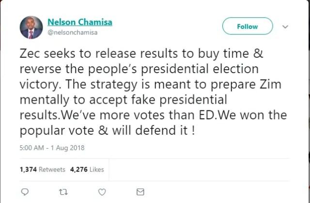 Nelson Chamisa Tweet