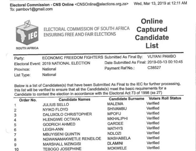 EFF Candidates