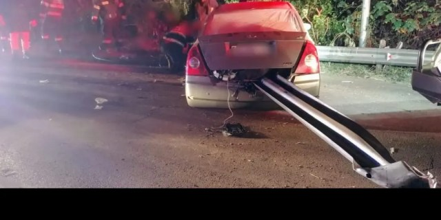 Car impaled in Armco barrier