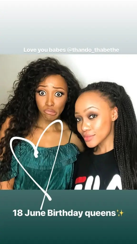 Thando Thabethe and Sbahle Mpisane both born on the 18th of June
