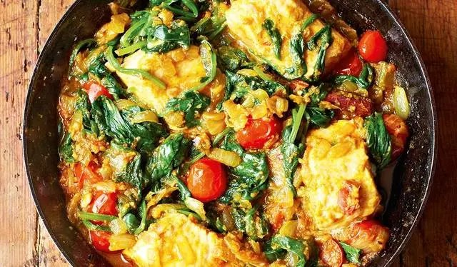 spinach and fish curry
