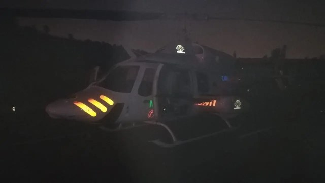 Helicopter Airlifts critically injured patient