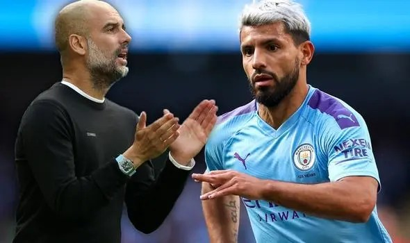 Pep Guardiola and Sergio Aguero