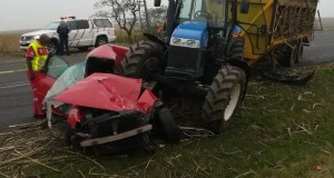 tractor vs car crash