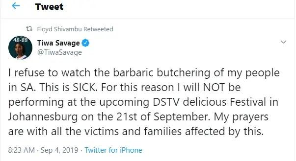 Tiwa Savage Tweet