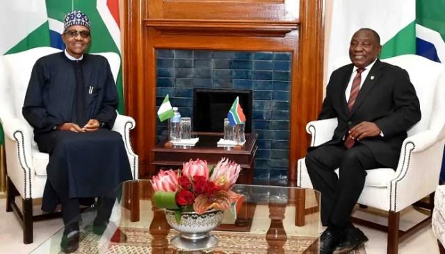 President Cyril Ramaphosa and his Nigerian counterpart Muhammadu Buhari