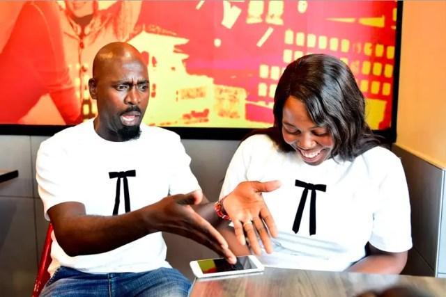 Hector Mkansi and his wife Nonhlanhla Soldaat at KFC