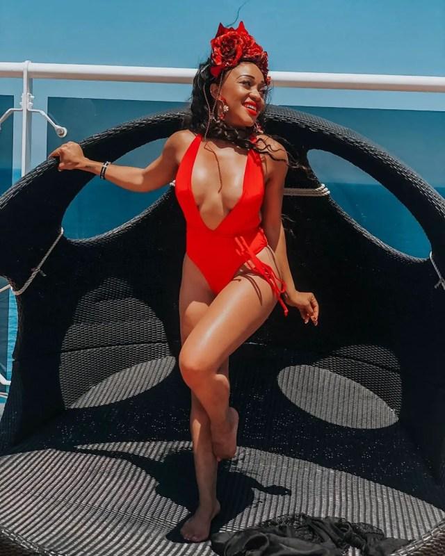 Thando Thabethe in a bikini