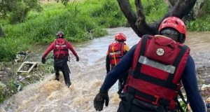 Rescue teams combing the river in search of the missing girl