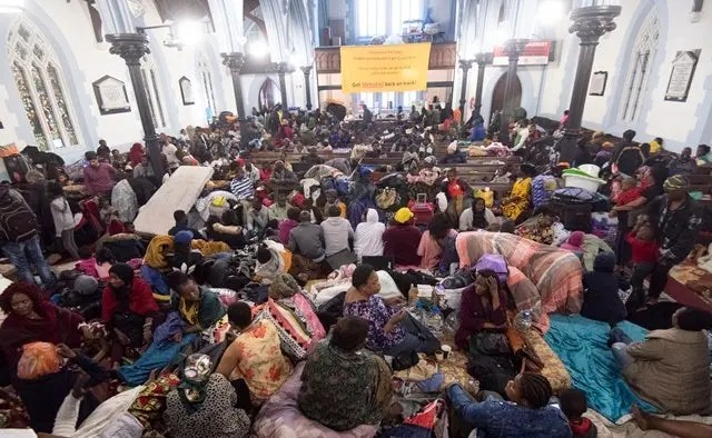 The scene inside the Central Methodist Church in Cape Town, where refugees have been staying since 30 October 2019