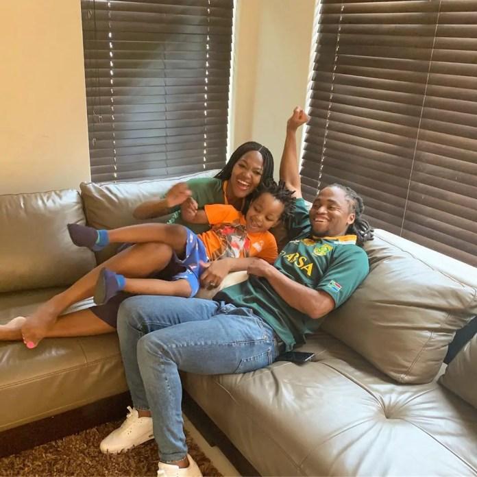 Bokang Montjane-Tshabalala and her son