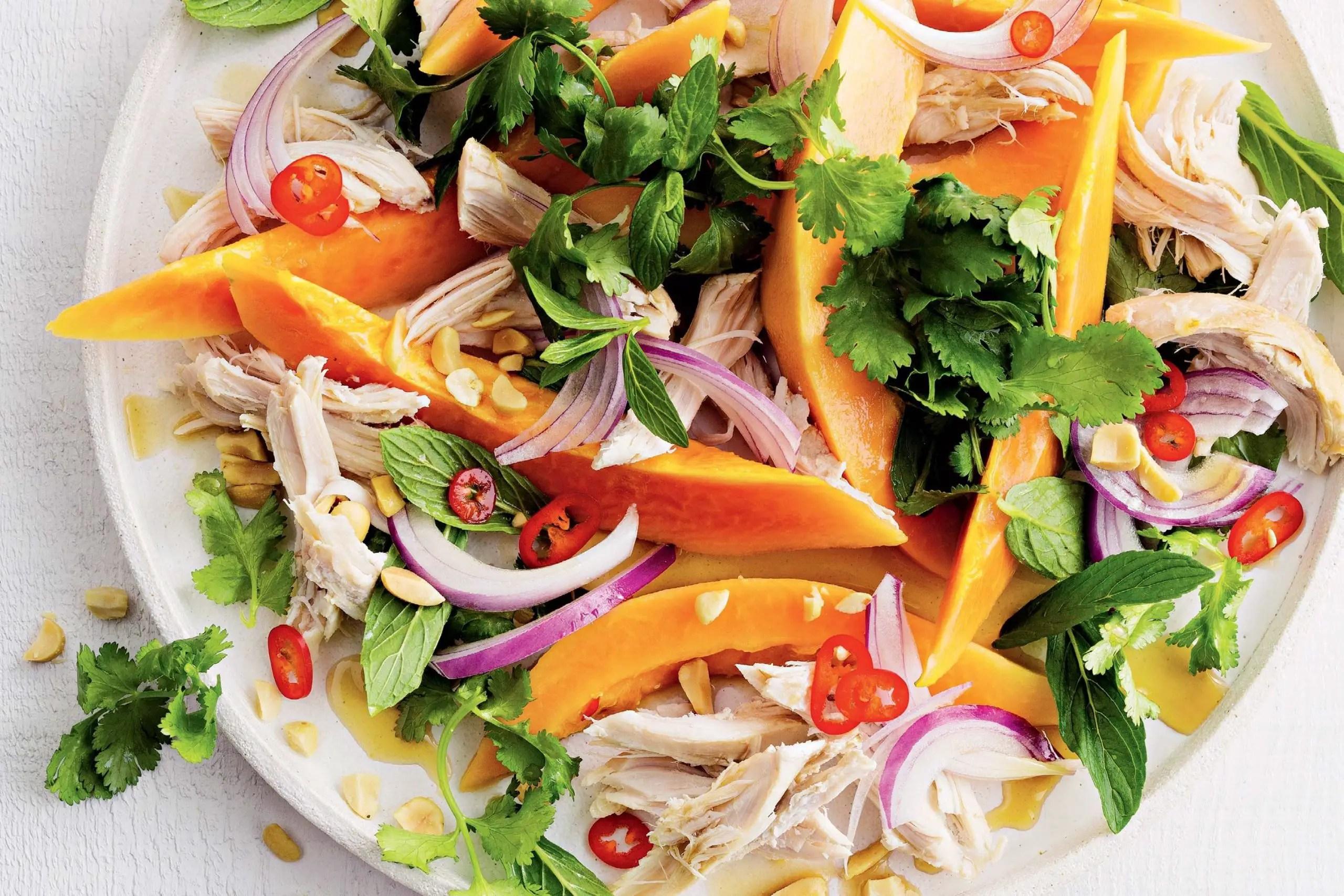 Chicken and papaya salad