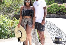 Teko Modise and wife