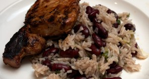 Jerk pork chops with rice and peas