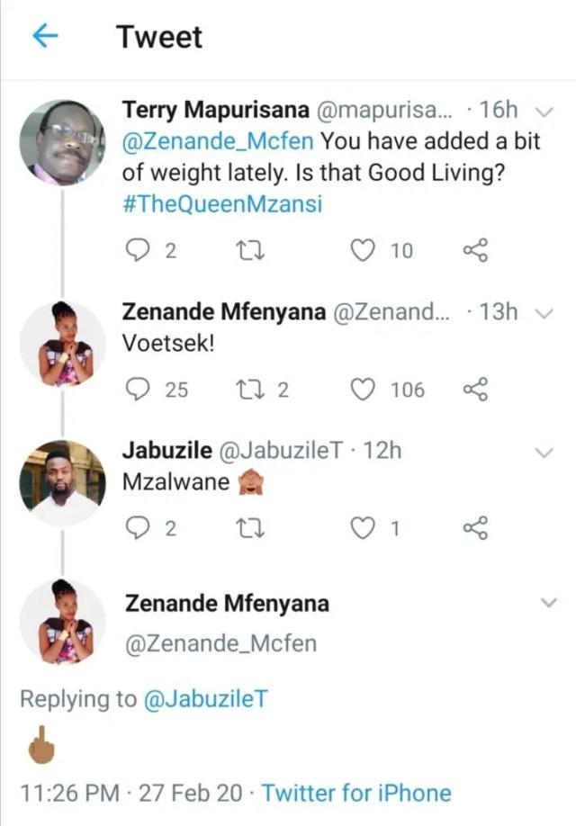 Zenande Mfenyana Claps Back