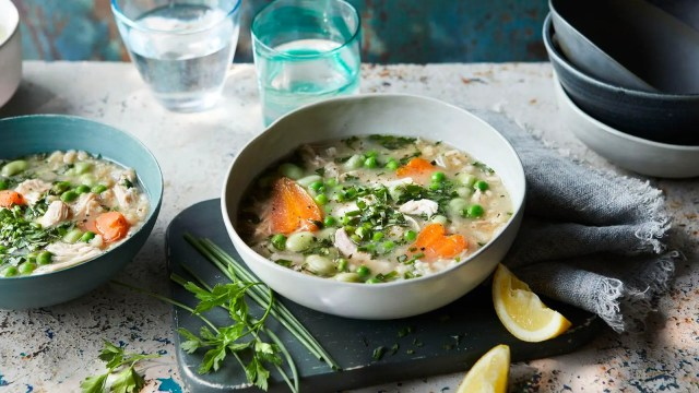 Slow-cooker spring chicken and herb soup