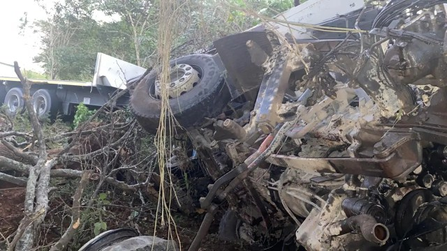 Two injured in truck crash