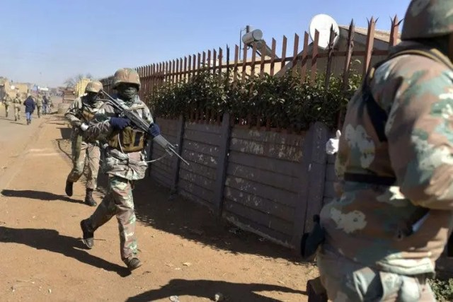 Army and Police patrol in Phola Park, Thokoza, 30 July 2020, after foreign nationals where targeted