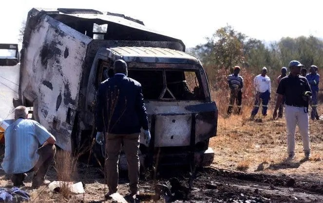 Cash-in-transit robbers bombed G4S vehicle A cash-in-transit vehicle along Main Reef next to Jerusalem informal settlement