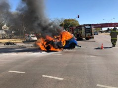 Vehicle bursts into flames in Pretoria crash