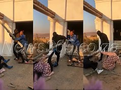 man beats baby mama