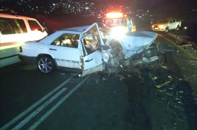 A motorist died after crashing head on into a taxi in Hammersdale on Friday night