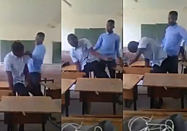 Watch: SA school bully heavily slapping another student and starts bleeding
