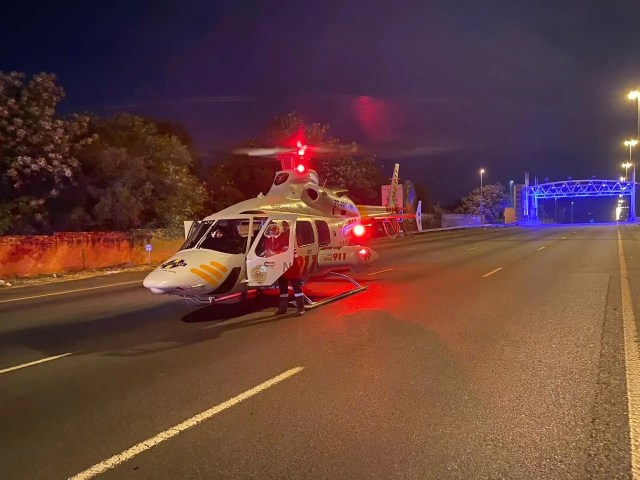 Driver airlifted to hospital in critical condition following fiery crash