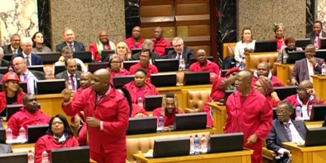 EFF disrupts parliament