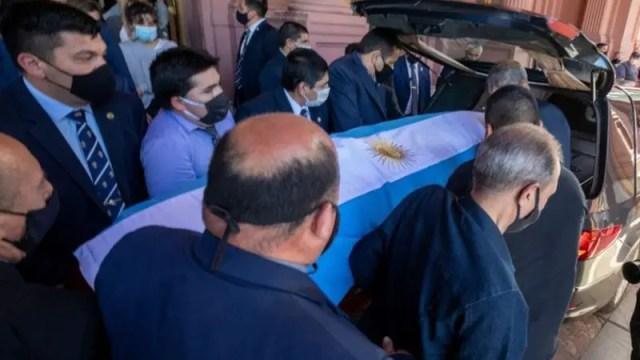 Maradona Coffin Argentina flag