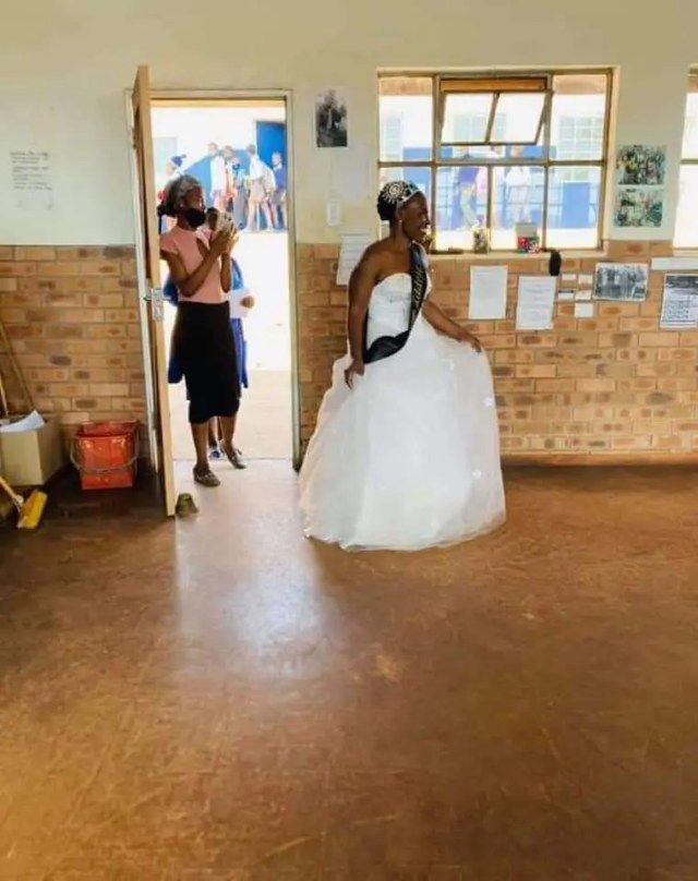 teacher who celebrated her Birthday at school in a wedding dress