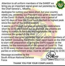 SANDF fake message