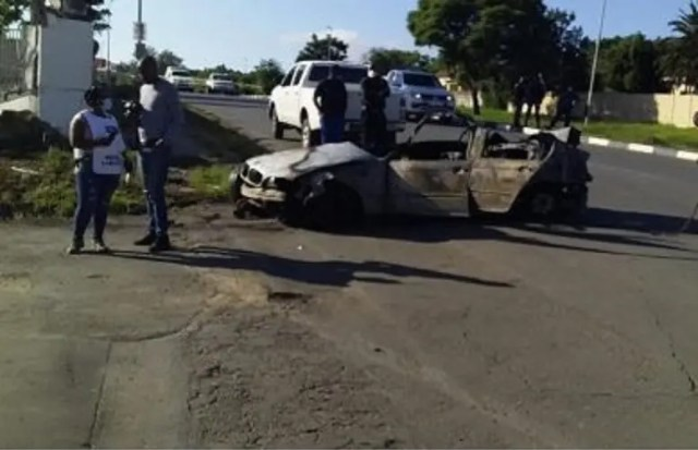 Five dead after vehicle smashes into wall and burst into flames