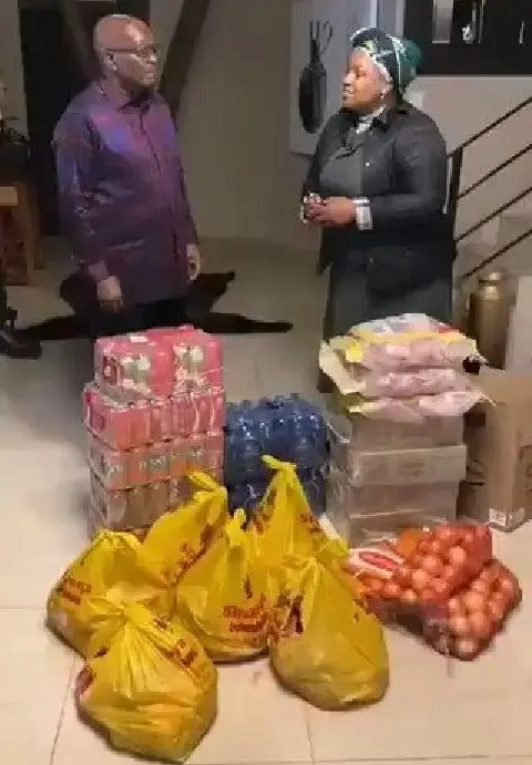 Former SA president Jacob Zuma receives food parcels from Dudu Myeni