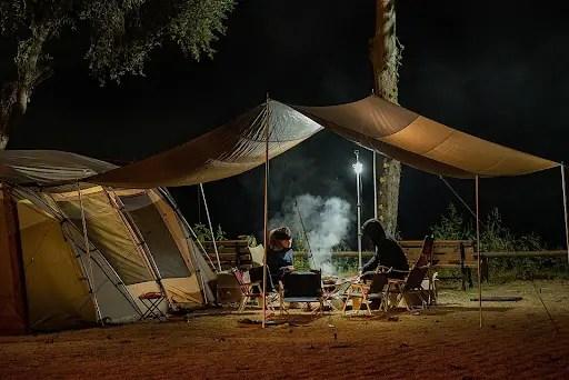 Tents in backyard