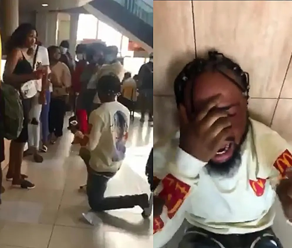 Video: Drama as man burst into tears after Girlfriend rejects marriage proposal