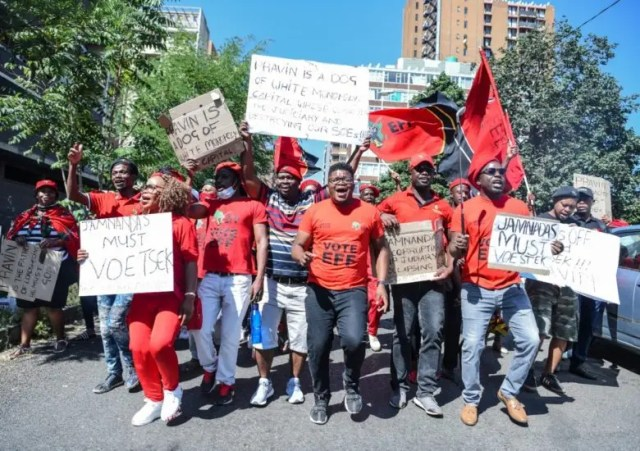 EFF pickets outside Hillbrow police station as they lay charge against Pravin Gordhan