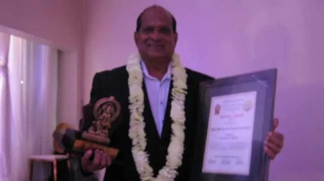 Media strategist Marlan Padayachee accepted the excellence in media award at the Shree Mariammen Hindu Temple Society in Mount Edgecombe