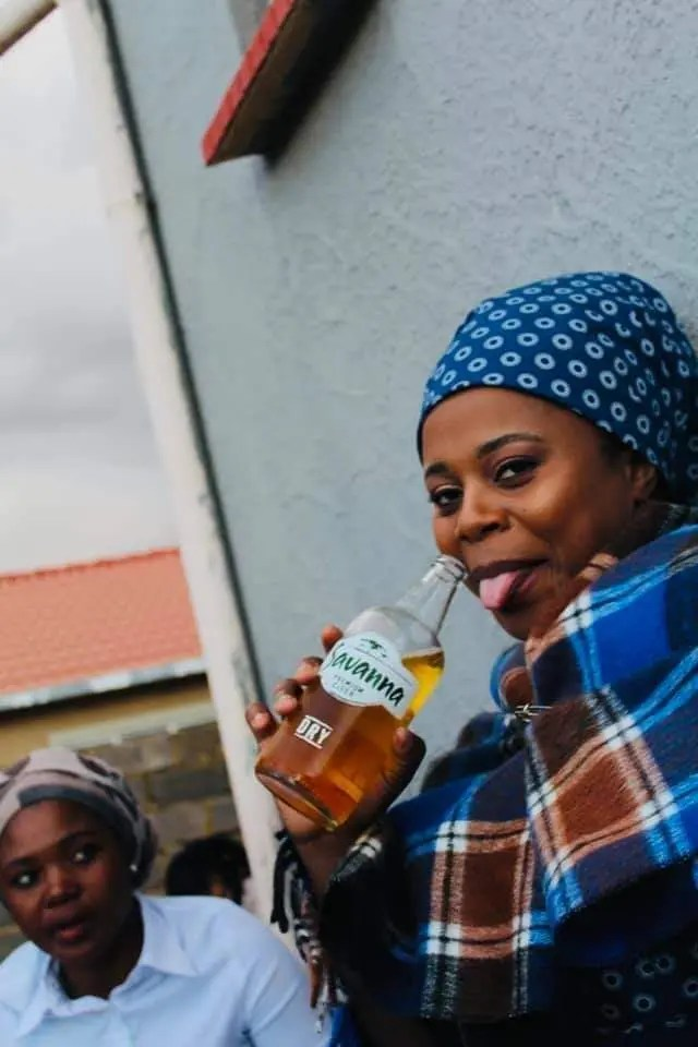 New Makoti did not waste time getting a beer after the wedding