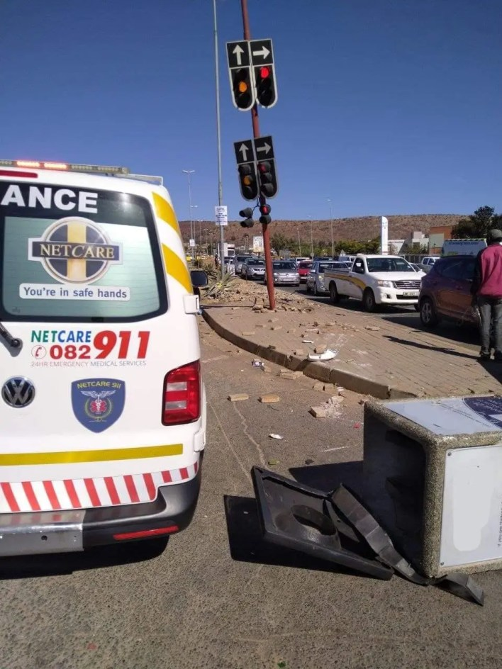 Elderly woman injured in collision with truck