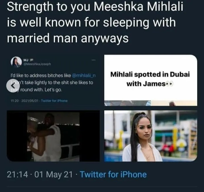 Taking to Twitter, Meeshka Joseph publicly confronted Mihlali